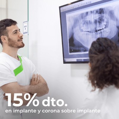 15% de descuento en Implante dental con corona sobre implante