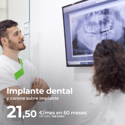 Implante dental con corona desde 21,50€/mes en Caredent